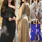 2017 Women Long Casual Solid Color Maxi Sundress Sleeve Loose Round Neck Dresses
