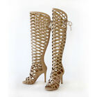 Gladiator Cut-out Caged Peep Toe Stiletto Heel  Over The Knee High Boots Sandal