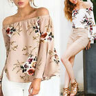 Fashion Womens Summer Loose Casual Off Shoulder Shirt Tops Blouse Ladies Top L +
