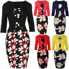 Fashion Women Bodycon Floral Business Office Casual 3/4Sleeve Pencil Dress S~3XL