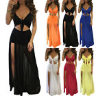 2PCS Women Sheer Lace Crop Top Split Long Maxi Skirt Beach Casual Dresses Summer