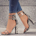 Casual Womens Ankle Strap Sandals Peep Toe Buckle High Heels Transparent Shoes