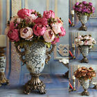 Flowers Bouquet Realistic Floral Wedding Decor Vintage Artificial Peony Silk New