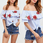 Women Ladies Off Shoulder Frill Striped Floral Cuffed Long Sleeve Tops Blouse UK