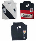 Ralph Lauren Mens Navy Red White Big Pony Shield Crest Striped Rugby Polo Shirt