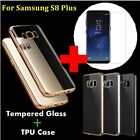 9H Premium Tempered Glass Screen Protector +Slim Soft Case Cover Fpr Samsung S8