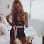 Women's Sleeveless Lingerie Strap Deep V Neck Lace Crochet Jumpsuit Romper Pants