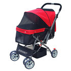 Newly Pet Stroller 4 Wheels Walking Puppy Dog Carrier Cat Foldable Carriage Pram