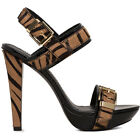 PIERRE BALMAIN luxury women's leather and tiger pattern ponyfur sandals $460