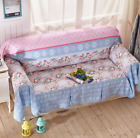 Blue Floral Cotton Linen Slipcovers Sofa Cover Protect TauL 1 2 3 4 seater Fit