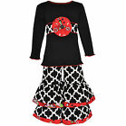 AnnLoren Girls Boutique Black & White Knit Tunic with Woven Outfit 2/3T - 9/10