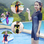 Women's Short Sleeve One-piece Swimming Suits Padded Swimwear Boxer Swimsuits