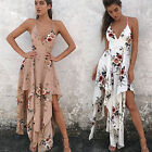 Fashion Women's V Neck Printed Shirt Sleeve Evening Party Cocktail Long Dress