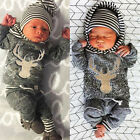 Newborn Baby Girl Boy Clothes Deers Top T-shirt +Pants Legging 2pcs Outfits US b