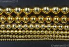 AAA Natural Gold Hematite Gemstones Round Loose Beads 2mm 4mm 6mm 8mm 10mm 16''