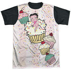 Betty Boop Cake Boop Mens Sublimation Black Back Shirt White $26.61 CAD