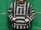 Hoodie Baja,Surfer Mexican Poncho Sweater Black and White,choose size Xl,L,M,2XL