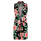Womens Ladies Celeb Floral Print Crepe Waistcoat Belted Cape Jacket Long Top