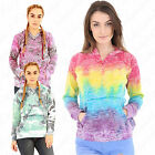Womens Ladies Tye Dye Rainbow Pull Over Hooded Sweatshirt Top Jumper Hoodie
