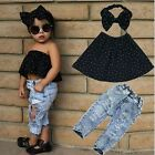 3pcs Toddler Infant Girls Outfits Headband+Tops+Denim Pants Kids Clothes Set