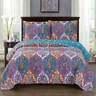 Viola Oversized 3 Piece Coverlet Set Reversible Floral Printed Quilts  image