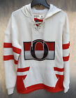 NHL Ottawa Senators Sens Vintage CCM Hit the Boards Pullover Retro Hoodie Jersey