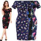 Vintage 1950s Floral Style Pencil Wiggle Mni Evening Midi Dress Formal Size 4-18
