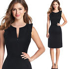 Women Zip Front Ruffle Frill Flouncing Vintage Work Business Party Bodycon Dress