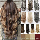 """UK Straight Full Head Real Clip In Hair Extensions Long 17-26"""" Ombre Hairpiece"""