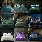 Embroidered Floral King Queen Quilt Duvet Doona Cover Set Bed Size Pillowcase