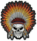 Embroidered Skull With Indian Head Dress Large Back Patch