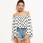 Casual Women's Summer Off-Shoulder Blouse Loose Polka Dot Tee Tops T-shirt New
