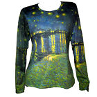 VINCENT VAN GOGH Starry Night Over the Rhone LS T-SHIRT PAINTING  FINE ART PRINT