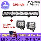 """20""""INCH 126W + 2X 4""""IN 18W SPOT FLOOD COMBO CREE LED WORK LIGHT BAR OFFROAD BOAT"""