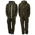 Men's Long Sleeve Army Military Camouflage Jump Suit All In One Hooded Zip Up