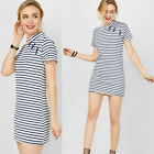 Fashion Women Stripe Bodycon Summer Evening Party Cocktail Slim Fit Mini Dress