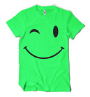 SMILEY FACE BIG WINK T-SHIRT LARGE PRINT S-2XL NEON 4 COLOURS IBIZA RAVE SUMMER