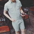 Fashion Mens Summer Casual Lapel Slim Fit Short Jumpsuits Pants Overalls Rompers