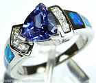 0.7 Carat Tanzanite & Blue Fire Opal Inlay 925 Sterling Silver Ring Sz 6,7,8,9