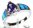 Purple Amethyst & Blue Fire Opal Inlay Solid 925 Sterling Silver Ring size 7-10