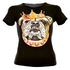 Crowned Bulldog Rock Eagle Damen Top Schwarz Dog Hund