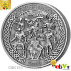 THE NORSE GODS 5 oz High Relief Antiqued Silver Coin Cook Islands 2016