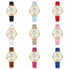 New Womens Round PU Leather Candy Colors Band Multi Dial Quartz Wristwatch Lots