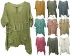 Ladies Women Italian Lagenlook Quirky Plain Batwing Two Pocket Linen Kaftan Top
