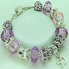 Lilac Pale Pink Charm Bracelet 16th 18th 21st 40th 50th 60th 65th BIRTHDAY Gift