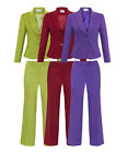 Forever - Women's Formal Ladies Slim Fit Work Office 2 Piece Suit & Trousers Set