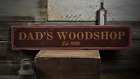 Dad's shop, Custom Established Date - Rustic Distressed Wood Sign ENS1001590