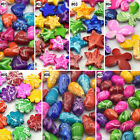 50/100pcs Mixed Colors Shapes Abstract Stripe Design Acrylic Loose Beads Craft