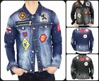 NEW Dsquared2 Blue or Black Patches Men's Denim Slim Fit Elastic Jeans Jacket