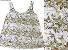 BN NEXT CREAM KHAKI/BROWN BUTTERFLY PRINT TUNIC VEST CAMI TOP 8~16 ONLY £11.99